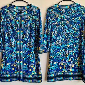 BCBG Maxazria Blue 3/4 Sleeve Dress Size XS